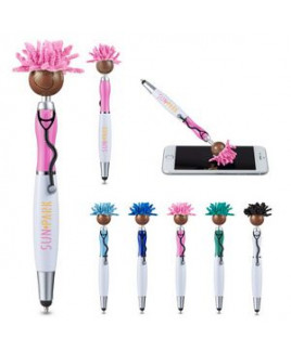 MopToppers® Screen Cleaner w/Multi-Cultural Version Stethoscope Stylus Pen - (Brown Skin Color)