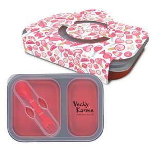 Collapsible 2-Section Food Container And Dual Utensil With Custom Handle Box