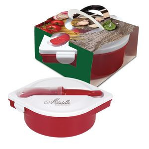 Multi-Compartment Food Container And Utensils With Custom Handle Box