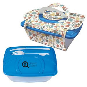 Wave Lunch Container With Custom Handle Box