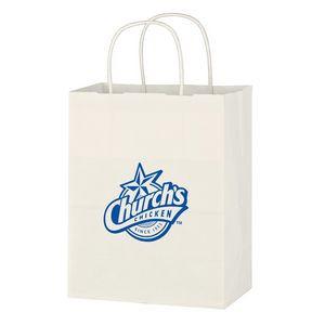 "Kraft Paper White Shopping Bag - 8"" x 10-1/4"""
