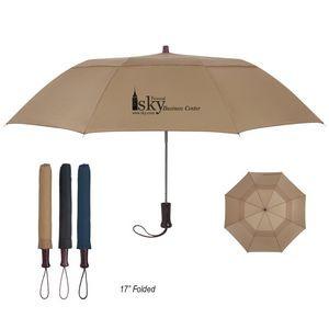"44"" Arc Telescopic Folding Wood Handle Umbrella"
