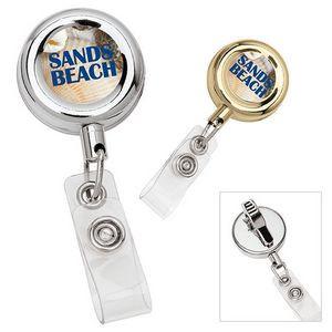 Round Metal Retractable Badge Holder