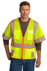 CornerStone® ANSI 107 Class 3 Surveyor Mesh Zippered Two-Tone Short Sleeve Vest