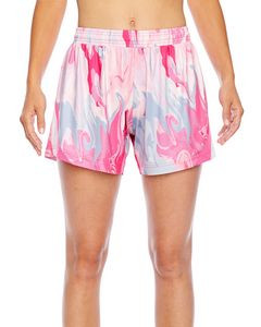 Team 365 Ladies' Tournament Sublimated Pink Swirl Short